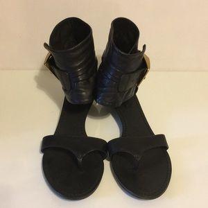 BCBG black leather sandals